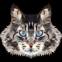Katze Mietze Polygon Katzendame Geschenk