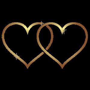 Doppel Herz in Gold, ein ideales Geschenk