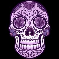 Floral Sugar Skull Totenkopf Day Of The Dead Lila