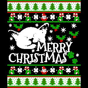 Niedliche siamesische Weihnachtskatze Santa Claus
