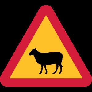 Schwedisches Schaf Warnschild