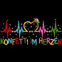 Fasching Herzschlag EKG Konfetti im Herzen Party