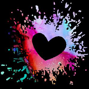Buntes Herz Farbkleckse