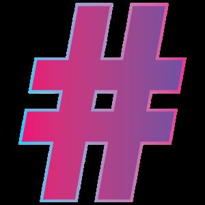 Super-Hashtag in pink-lila Verlauf