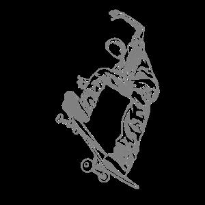 Skateboarder mit Skateboard