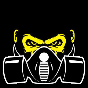 Gorilla mit Gasmaske