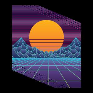 Retro 80s Vaporwave Berg