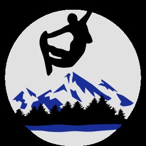 Snowboarder und Berge, Snowboarding