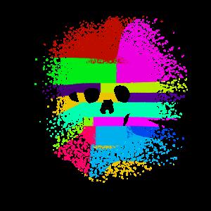Farbenfrohes Totenkopf Shirt für Männer und Frauen