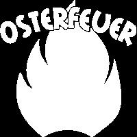 Osterfeuer Schriftzug mit Flamme weiß
