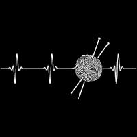 Stricken Wollkäuel mit Stricknadel Herzfrequenz