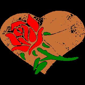 Rose mit Herz Valentinstag nettes Geschenk