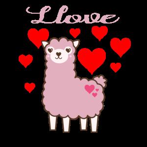 Llama Llove Lama Alpaka Valentinstag
