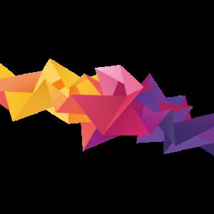 3D Kristalle, bunte Formen – gelb pink lila
