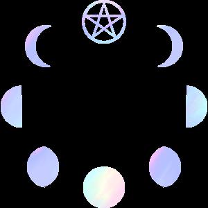 Mondphasen Pastell Regenbogen Gothic Pentagramm