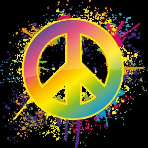 Peace Zeichen mit bunten Farbspritzern
