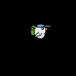 Vogel mit Rucksack - Lass mich - Ich muss pilgern