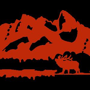 Berge mit Hirsch