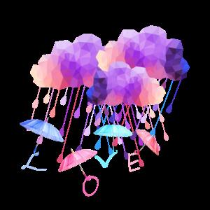 Bunte Regenwolken mit Love