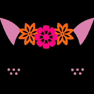 Süßes Katzen Gesicht mit Blumen