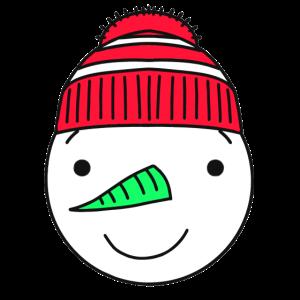 Schneemann mit roter Mütze Gurkennase Geschenk Fun