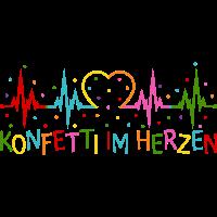 Konfetti im Herzen Herzschlag Herz EKG
