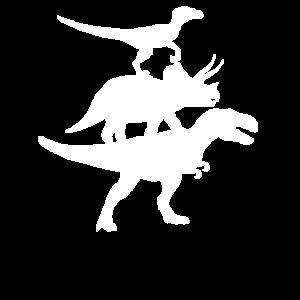 Velociraptor TRex Dinosaurier Aufeinander