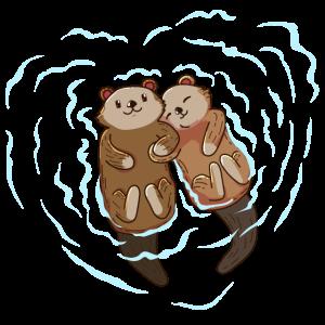 Valentinstag Otter Herz Liebe Wasser Kuscheln