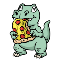 Kawaii Dino Pizza Fantasy Kinder Essen Comic