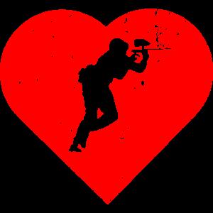 Paintball - Herz Liebe Retro Geschenk