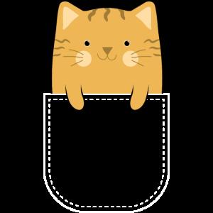 Katze Orange Pocket Tasche Geschenk
