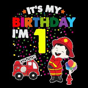 Feuerwehr Geburtstag Kinder T Shirt 1 Jahre Junge