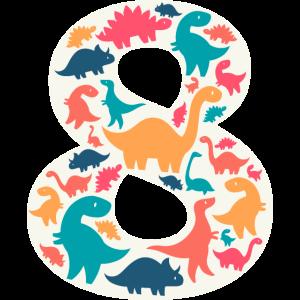 8 - Eight Years Birthday  Dino Dinosaur T Rex