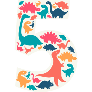 5 - Five Years Birthday  Dino Dinosaur T Rex