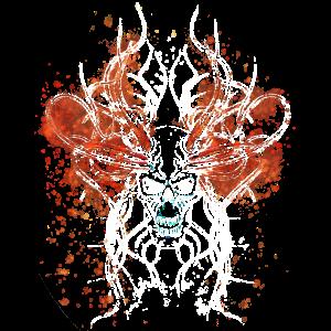 Totenschädel des Bösen in Weiß