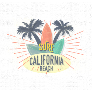 California Beach Shirt mit Surfbrett und Palmen