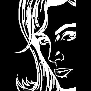 Face Pop art Frau Gesicht Kunst Kopf Comic Style