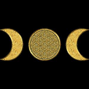 Mond - Blume des Lebens - gold