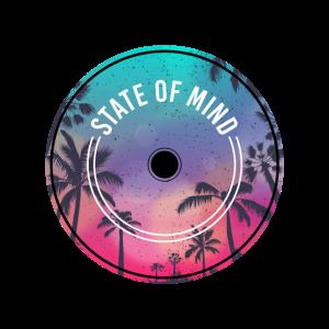 Palmen Miami T-Shirt Schallplatte Musik farbig