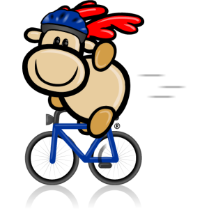 Elch Elmondo winkend auf dem Fahrrad