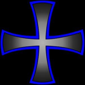 Kreuz blau schwarzer Farbverlauf
