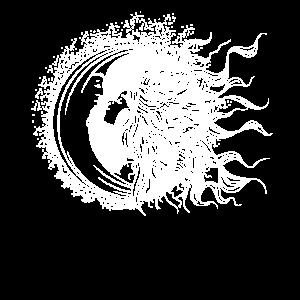 Sonne und Mond im Kuss Zeichnung Stil