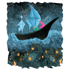 Das Schiff über den Wolken
