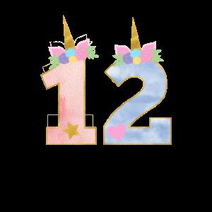 12. Geburtstag Einhorn 12 Jahre Mädchen Geschenk