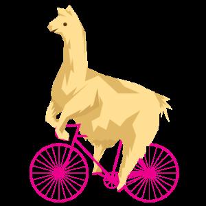 Lustiges Alpaka Fahrrad Pink Lama Ironisch