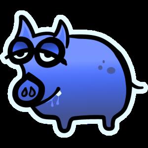 Schweinchen muede blau