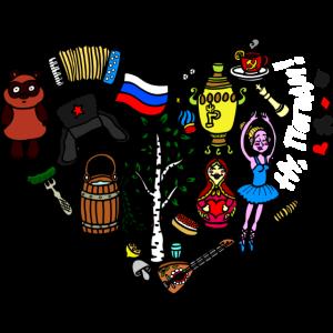 Ich liebe Russland Herz aus russischen Symbolen