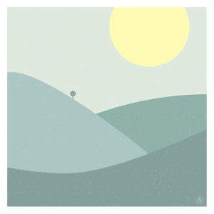 Berge und Baum - Poster