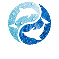 Delfin Yin Yang Wasser Logo Tropfen Wellen