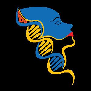 DNS DNA Strang Logo Gelb Blau Mensch
